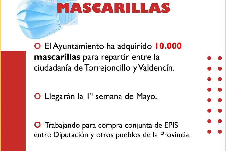 El Ayuntamiento de Torrejoncillo ha adquirido 10.000 mascarillas
