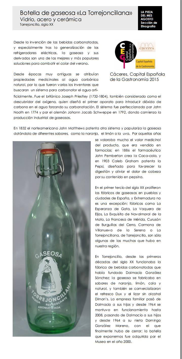 Botella de DUX en el Museo de Cáceres