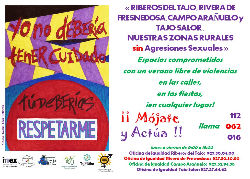 Las Oficinas de Igualdad de las Mancomunidades de Rivera de Fresnedosa, Rivera del Tajo, Campo Arañuelo y Tajo Salor se unen para prevenir las agresiones sexuales
