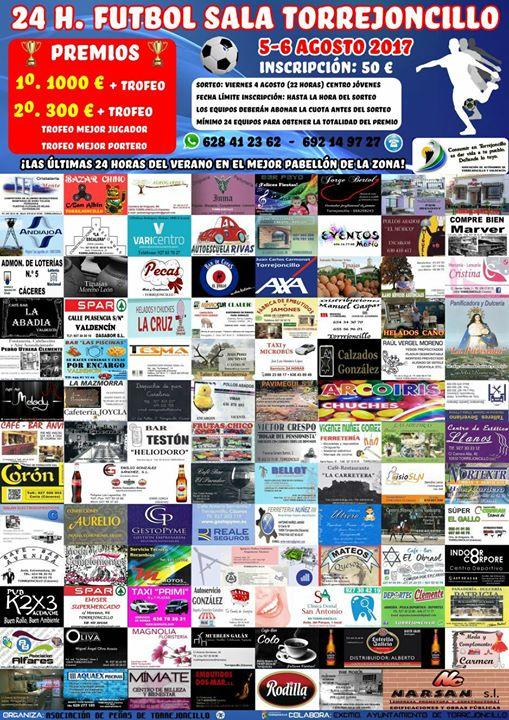 1000 y 100 euros serán los premios a los ganadores de las 24 horas de Fútbol Sala y Voley que organiza la Asociación de Peñas de Torrejoncillo