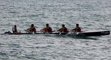 Fran Llanos en el reto que cruzará a remo desde Denia a Ibiza en 12 horas