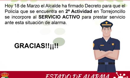 Torrejoncillo dispondrá de otro Policía Local para estos tiempos difíciles