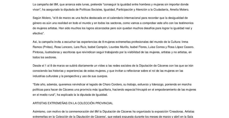 Ocho mujeres representantes del arte en Extremadura en el 8M-2021
