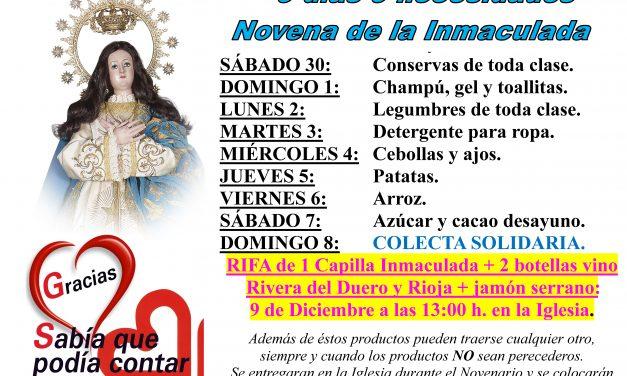 9 días, 9 necesidades. Novenas de la Inmaculada en Torrejoncillo