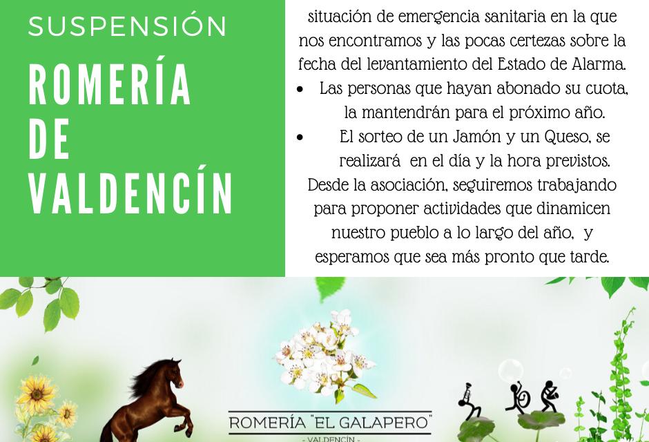 Romería de Valdencín 2020 – SUSPENDIDA