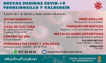 ACTUALIZACIÓN MEDIDAS COVID-19 EN TORREJONCILLO Y VALDENCÍN