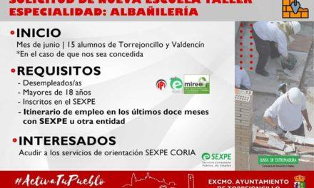 SOLICITUD DE NUEVA ESCUELA TALLER DE ALBAÑILERÍA