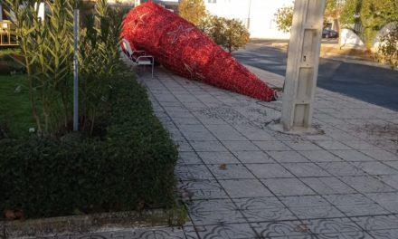 El viento derriba el árbol navideño de Valdencin