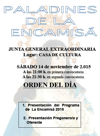 Presentación de La Encamisá 2015 el sábado, 14 de noviembre