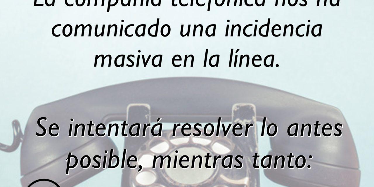 INCIDENCIA EN EL TELÉFONO DEL AYUNTAMIENTO