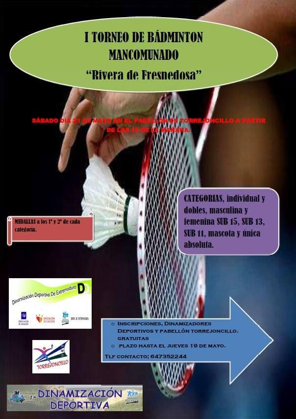 El I Torneo de Bádminton Mancomunado se celebrará en Torrejoncillo