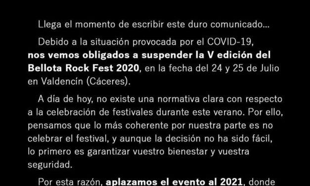 Suspendida la V edición del Bellota Rock Fest