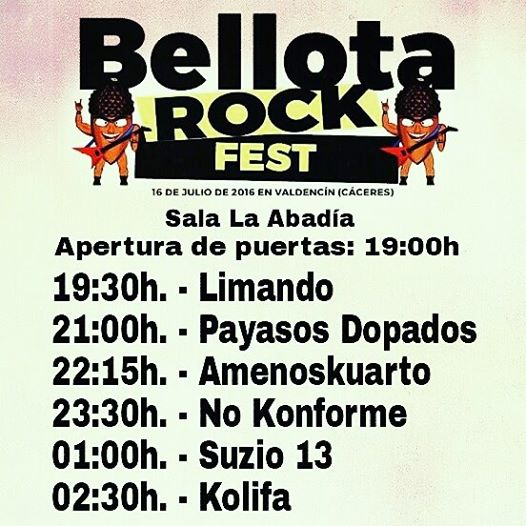 Festival de Rock en Valdencín, llega el Bellota Rock Festival