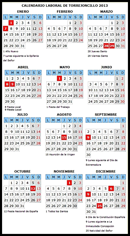 Calendario Laboral de Torrejoncillo 2013