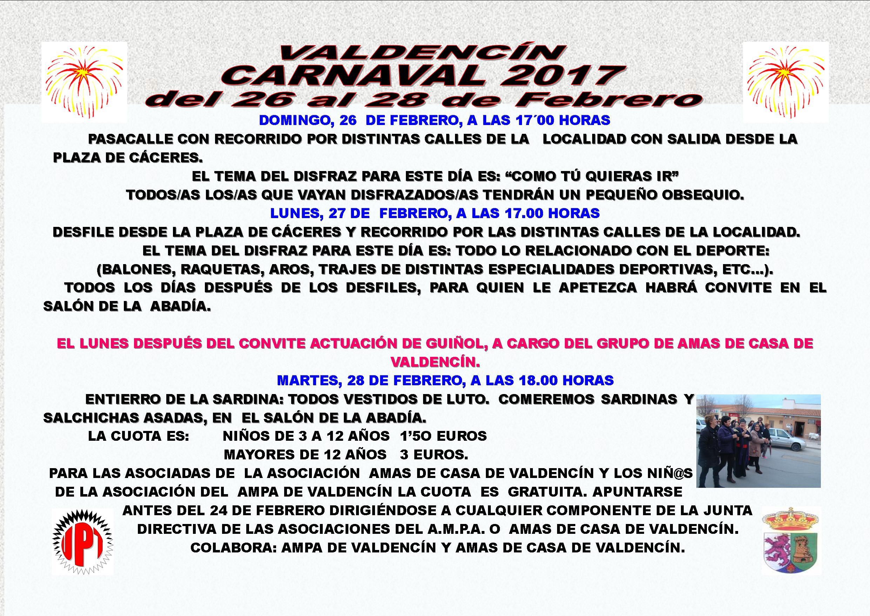 Programa de Carnaval 2017 en Valdencín