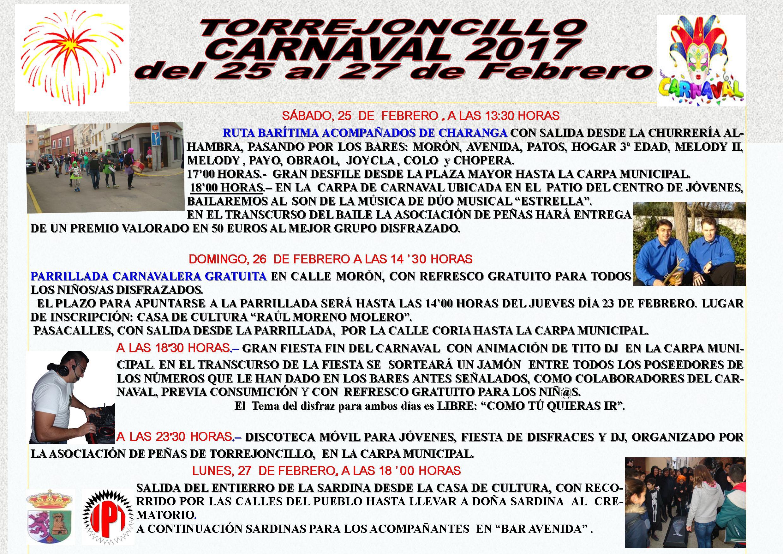 Programa de Carnaval 2017 en Torrejoncillo