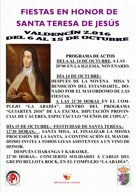 Fiestas en Honor de Santa Teresa de Jesús, en Valdencín