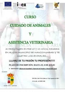 """Cartel del curso """"Ciudado de Animales y Asistencia Veterinaria"""" - OFICINA DE IGUALDAD"""
