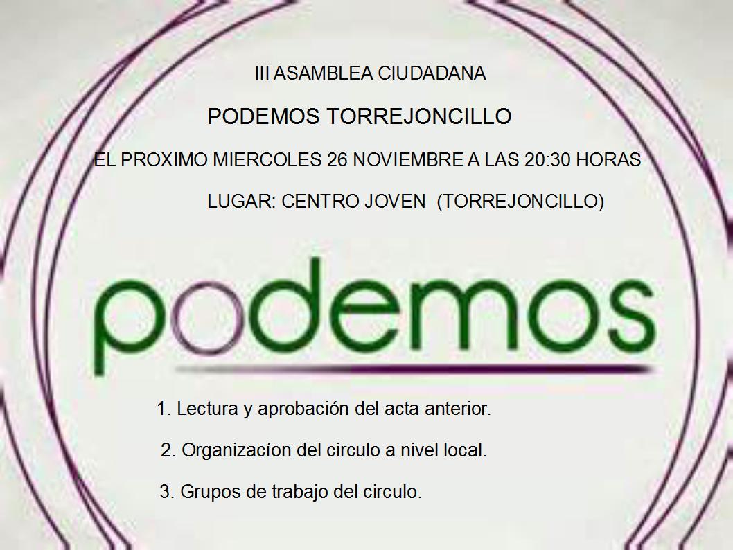III Asamblea Círculo Podemos Torrejoncillo-Valdencín