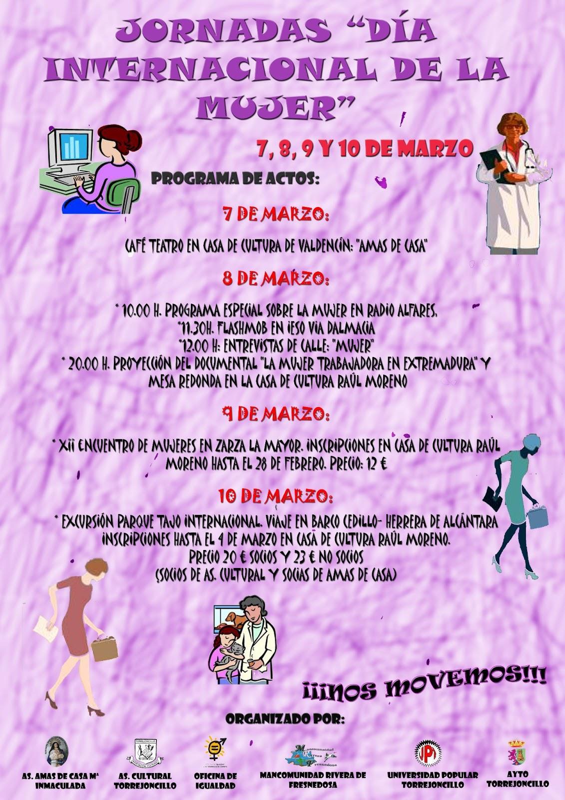 Jornadas Dia Internacional De La Mujer Ttn Torrejoncillo Todo Noticias Que dios te de mucha vida y sabiduría. jornadas dia internacional de la mujer