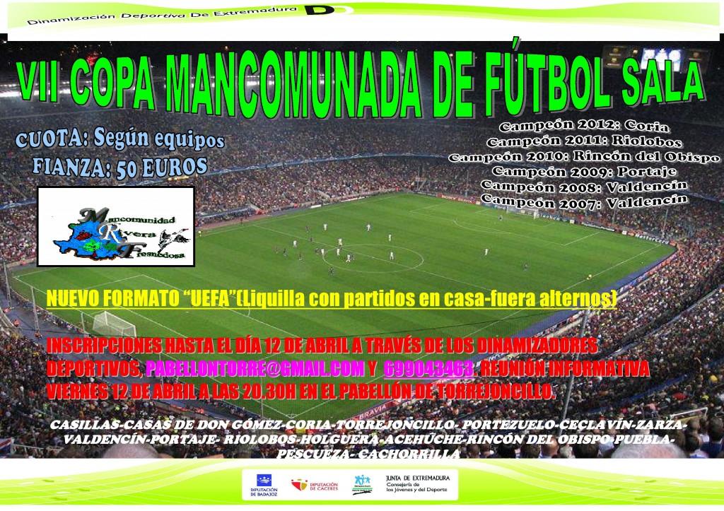 Cartel Oficial de la VII Copa Mancomunada de Fútbol Sala - DINAMIZACIÓN DEPORTIVA