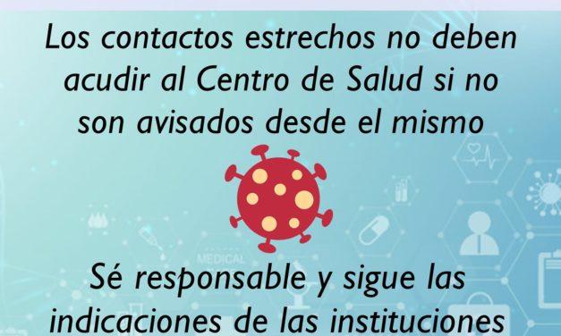 LOS CONTACTOS ESTRECHOS NO DEBEN ACUDIR AL CENTRO DE SALUD SI NO SON AVISADOS