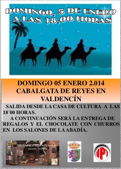 Cabalgata de Reyes en Valdencín. Domingo, 5 de enero a las 18:00 h.