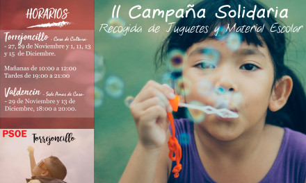 II Campaña Solidaria de recogida de juguetes y material escolar de PSOE de Torrejoncillo