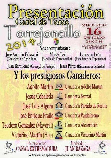 Canal Extremadura y Juan Bazaga presentaran los toros a lidiar en los festejos taurinos 2014