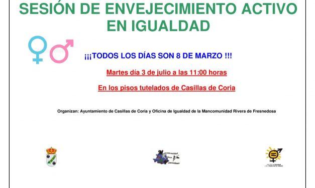 Sesión sobre Envejecimiento Activo en Igualdad en Casillas de Coria
