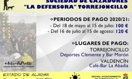 Periodo de pago cuotas Sociedad de Cazadores La Defensora