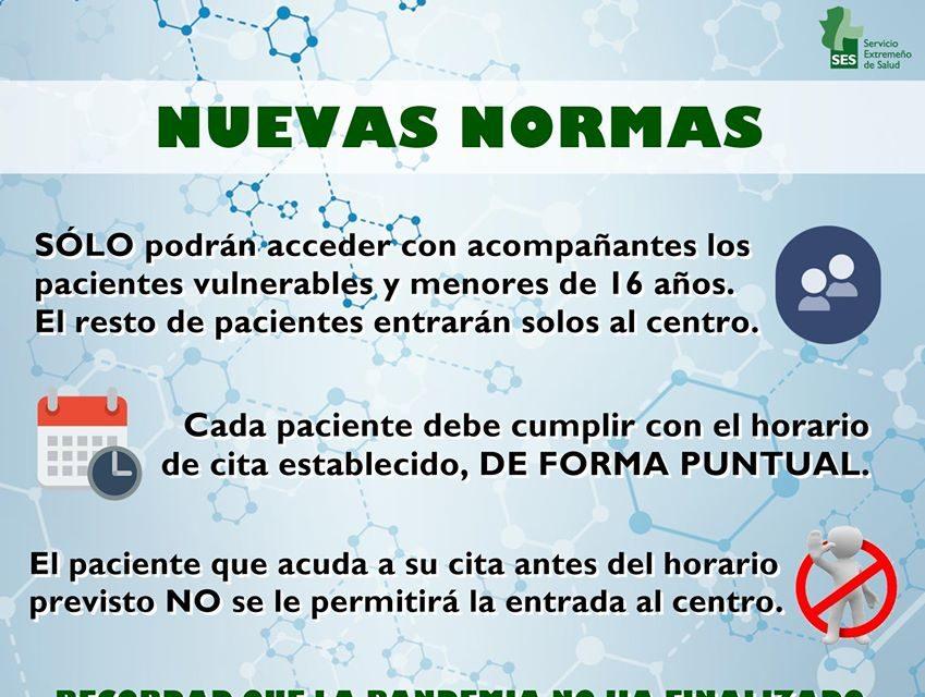 NUEVAS NORMAS DEL CENTRO DE SALUD DE TORREJONCILLO