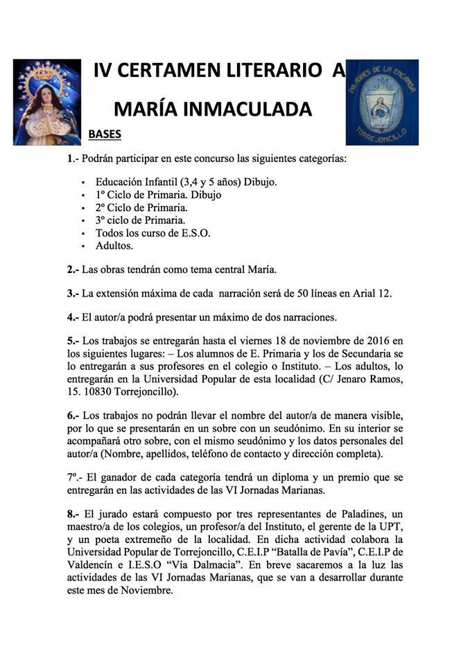 IV Certamen Literario a María Inmaculada
