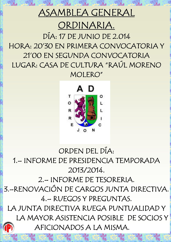Asamblea General A.D. Torrejoncillo