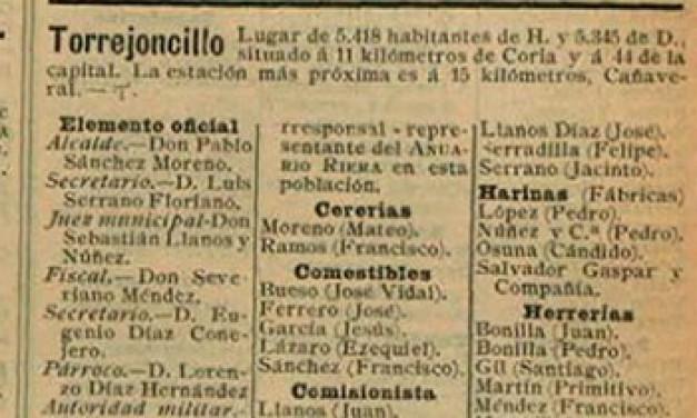 Torrejoncillo 1901, el entramado industrial y comercial