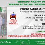 CRIBADO MASIVO COVID-19 EN EL CENTRO DE SALUD DE TORREJONCILLO
