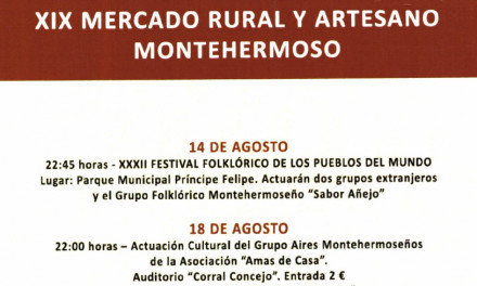 MONTEHERMOSO CELEBRA ESTE FIN DE SEMANA SU XIX MERCADO RURAL ARTESANO Y IX MERCADO GASTRONÓMICO
