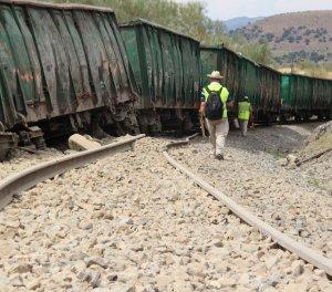 Punto en el que descarrilaron los seis vagones - MARISA NÚÑEZ
