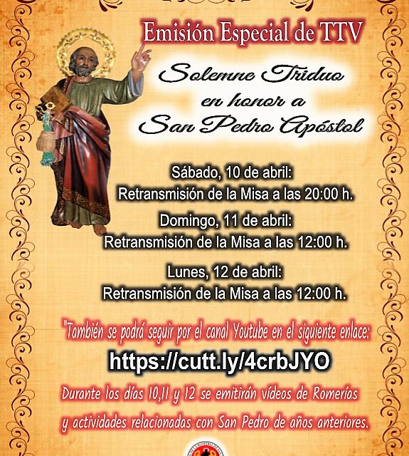 EMISIÓN ESPECIAL DE TTV » SOLEMNE TRIDUO EN HONOR AL APÓSTOL SAN PEDRO»