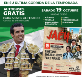 Emilio de Justo fleta autobuses a la afición de Extremadura para su última corrida del año en España