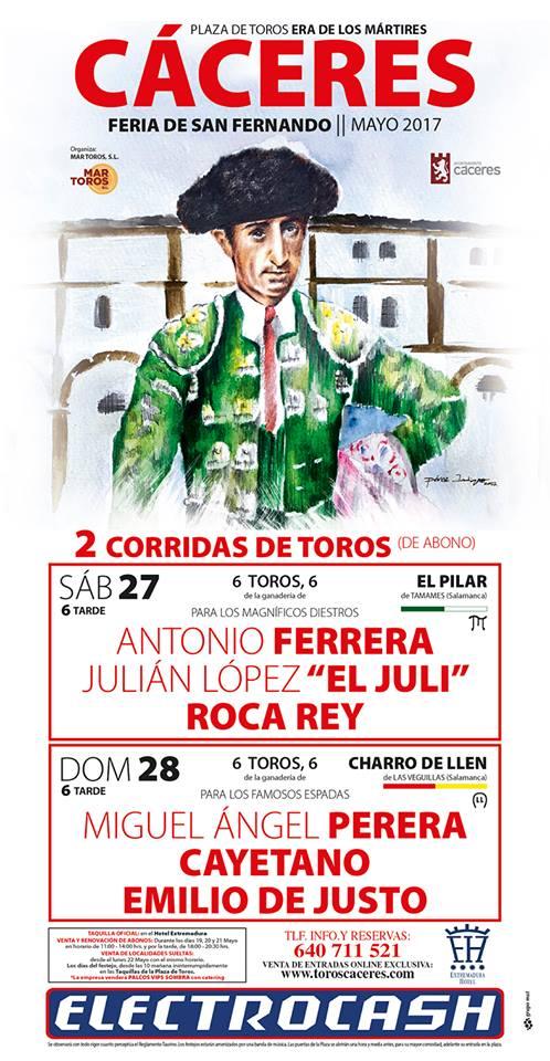 Emilio de Justo estará en la plaza de Cáceres