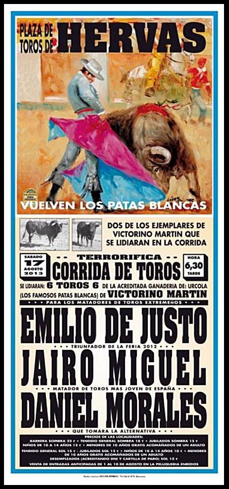 """Cartel del festejo con """"Patas Blancas"""" del 17 de agosto en Hervás - CEDIDA"""
