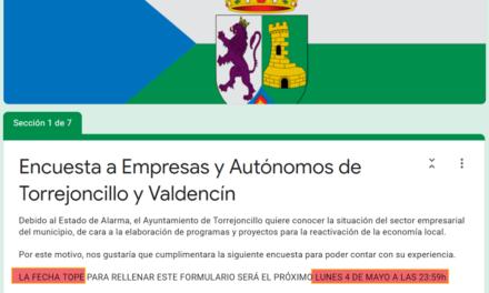 Encuesta a Empresas y Autónomos de Torrejoncillo y Valdencín