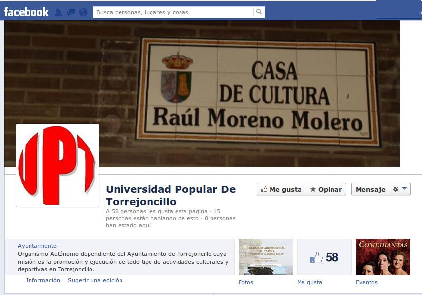 La Universidad Popular de Torrejoncillo se sube al carro de las Redes Sociales