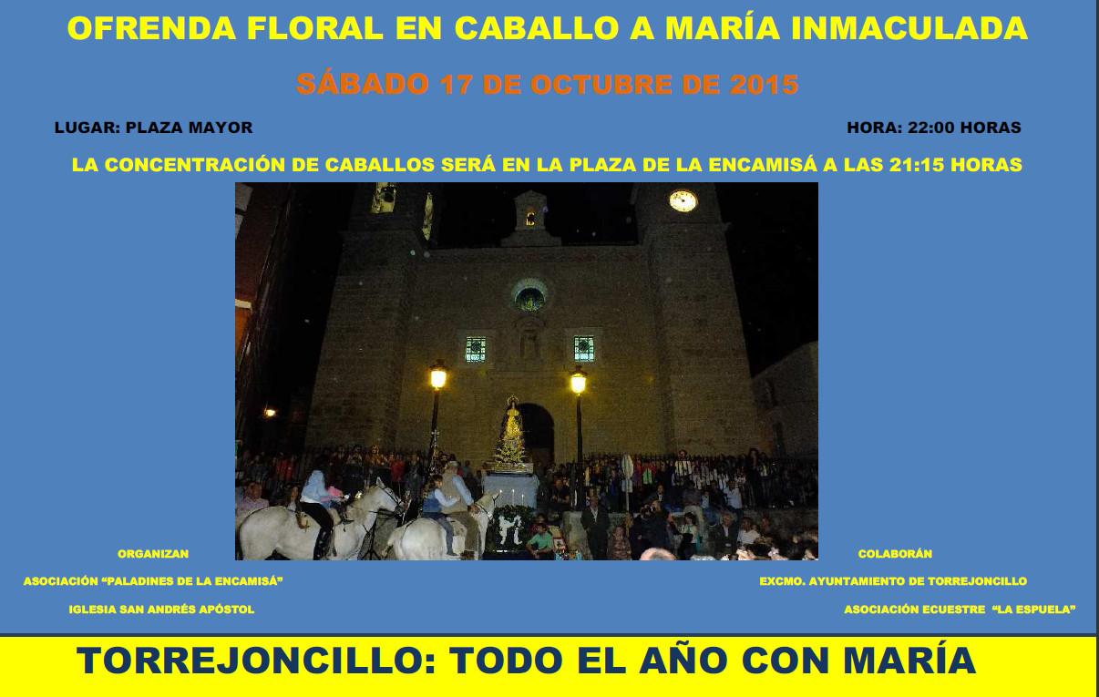 El 17 de octubre tendrá lugar la Ofrenda Floral en Caballo a Mª Inmaculada