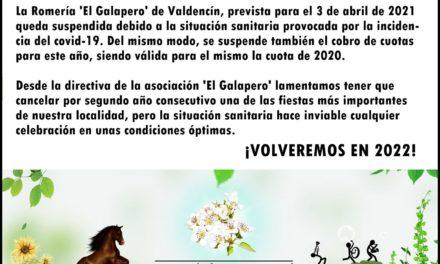 SE SUSPENDE LA ROMERÍA DE 2021 EN VALDENCIN