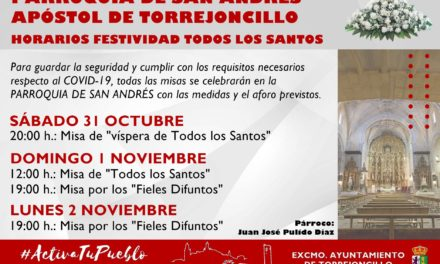 HORARIOS DE MISAS DE «TODOS LOS SANTOS» EN LA PARROQUIA DE SAN ANDRÉS APÓSTOL