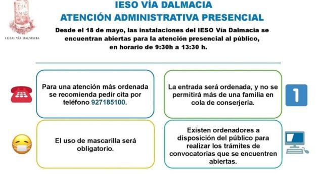 IESO Vía Dalmacia – Torrejoncillo ATENCIÓN ADMINISTRATIVA PRESENCIAL