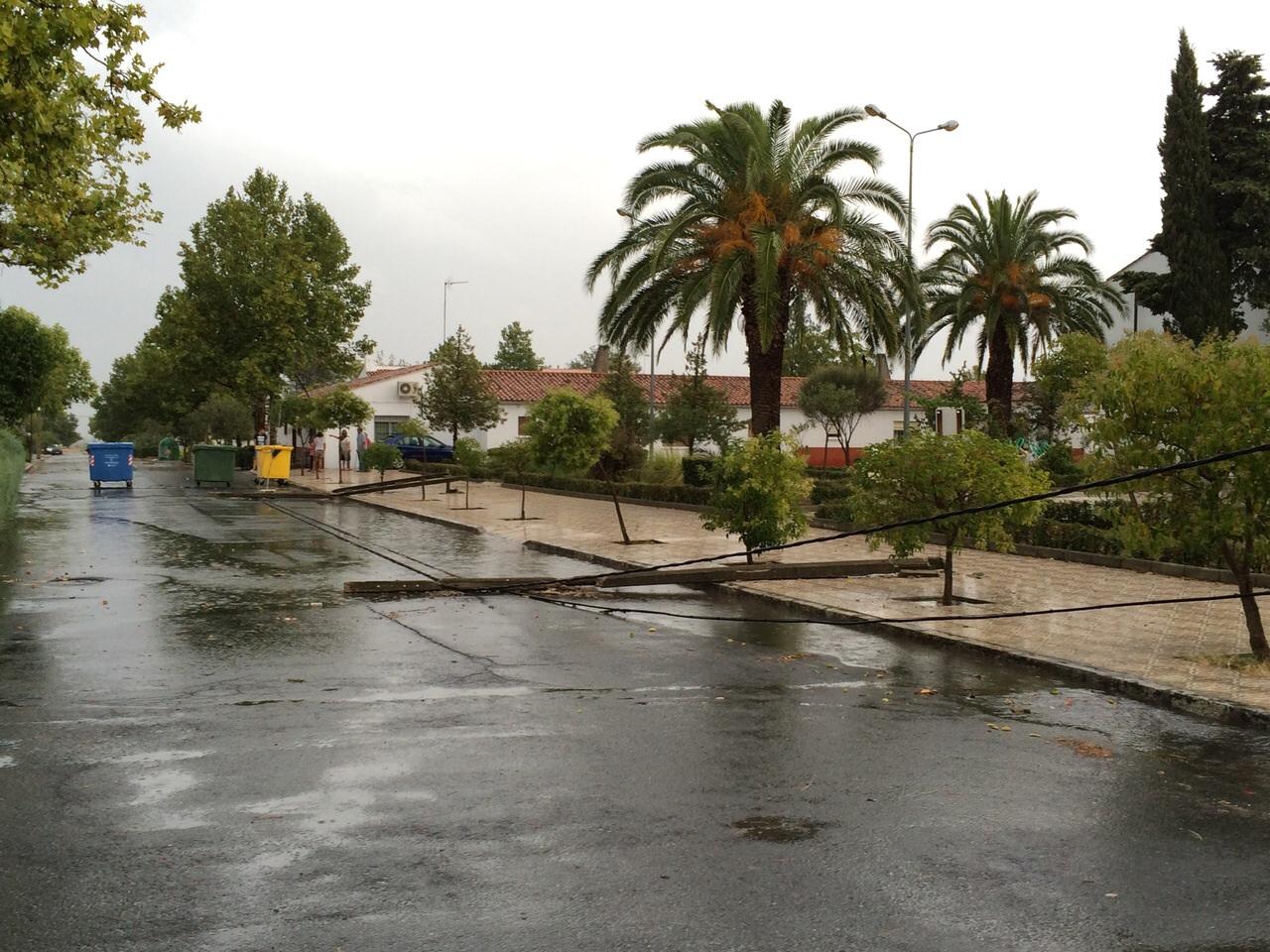 Una tormenta provoca la caída de un tendido eléctrico en Valdencín