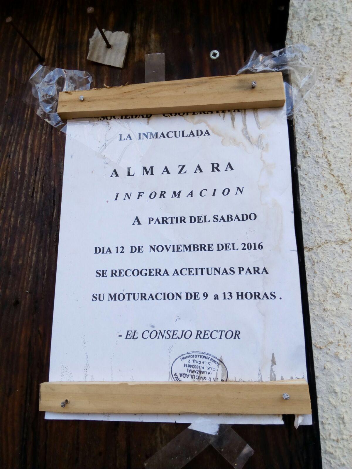 "Nota de La Almazara ""La Inmaculada"""
